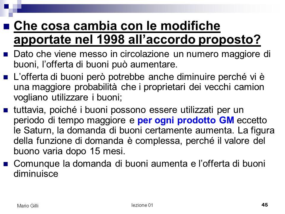 Microeconomia Mario Gilli. Che cosa cambia con le modifiche apportate nel 1998 all'accordo proposto