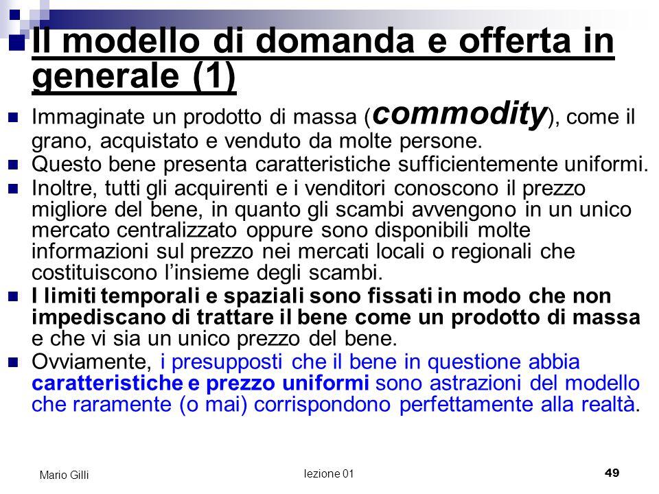Il modello di domanda e offerta in generale (1)