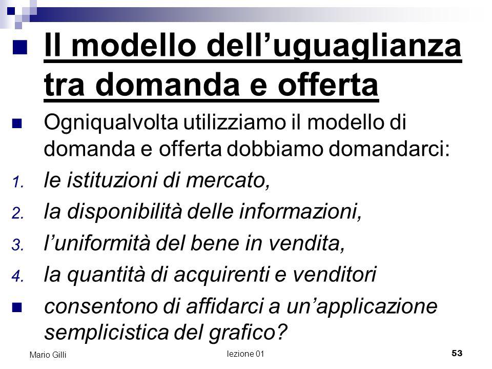 Il modello dell'uguaglianza tra domanda e offerta