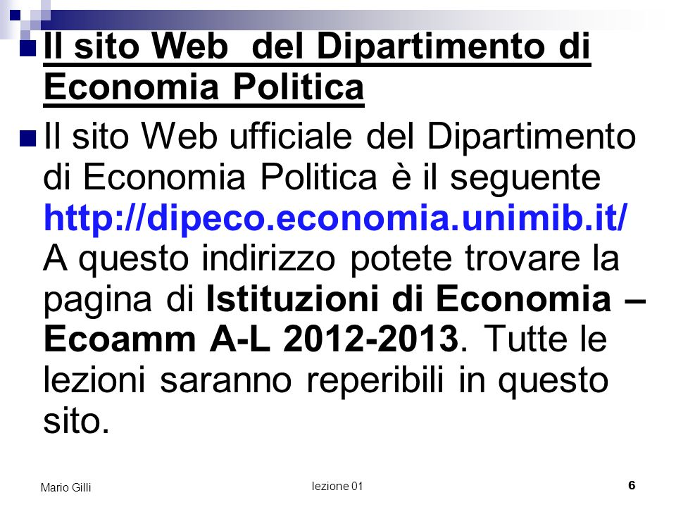 Il sito Web del Dipartimento di Economia Politica