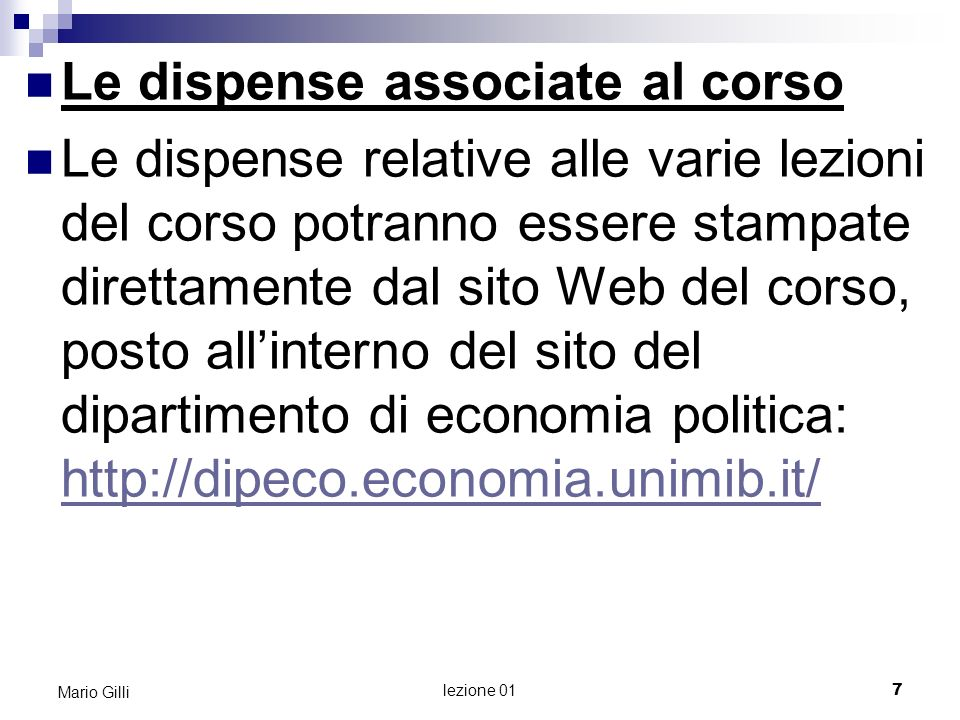 Le dispense associate al corso