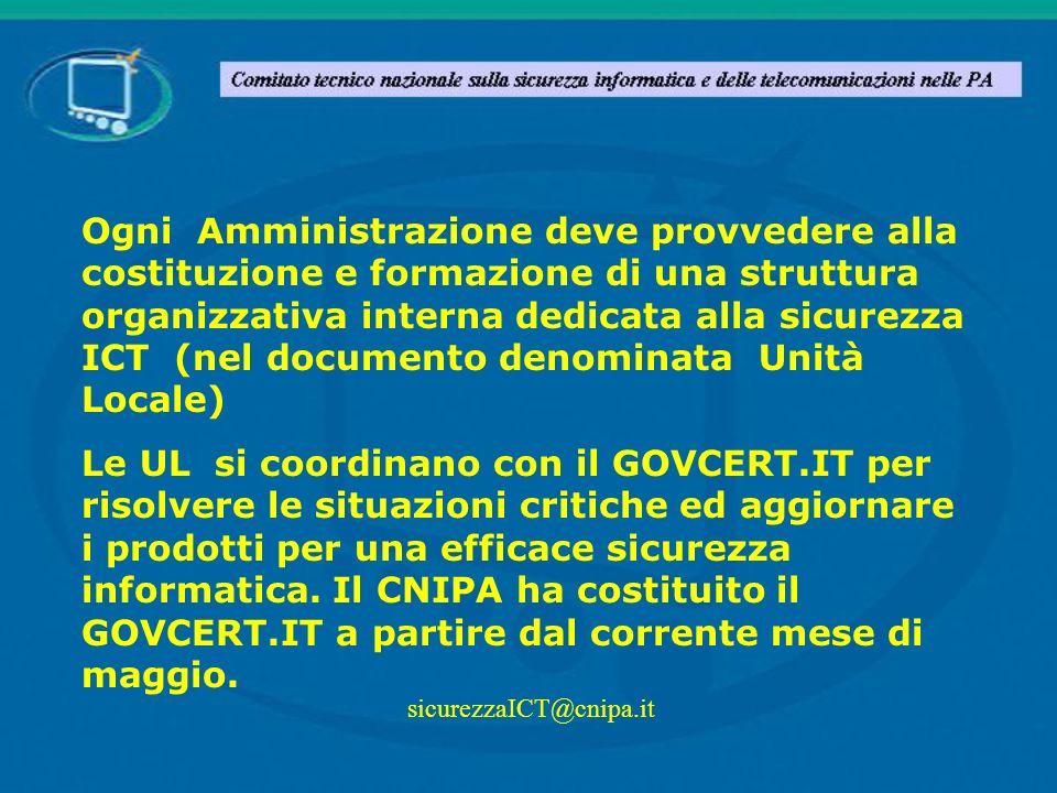 Ogni Amministrazione deve provvedere alla costituzione e formazione di una struttura organizzativa interna dedicata alla sicurezza ICT (nel documento denominata Unità Locale)