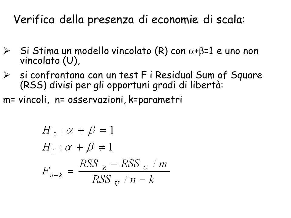 Verifica della presenza di economie di scala: