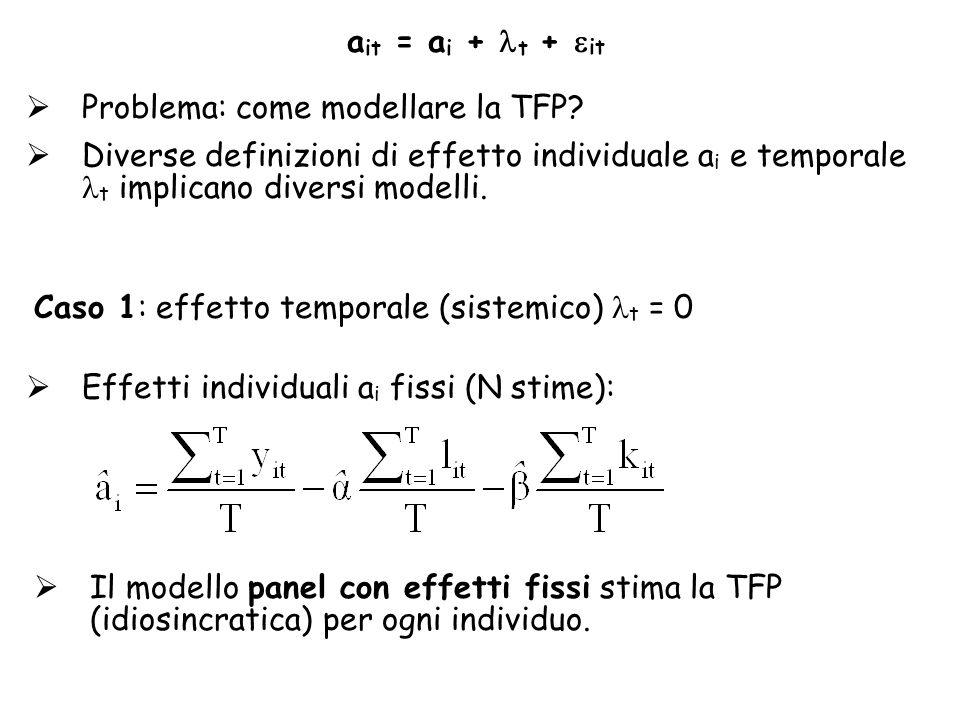 ait = ai + t + it Problema: come modellare la TFP Diverse definizioni di effetto individuale ai e temporale t implicano diversi modelli.
