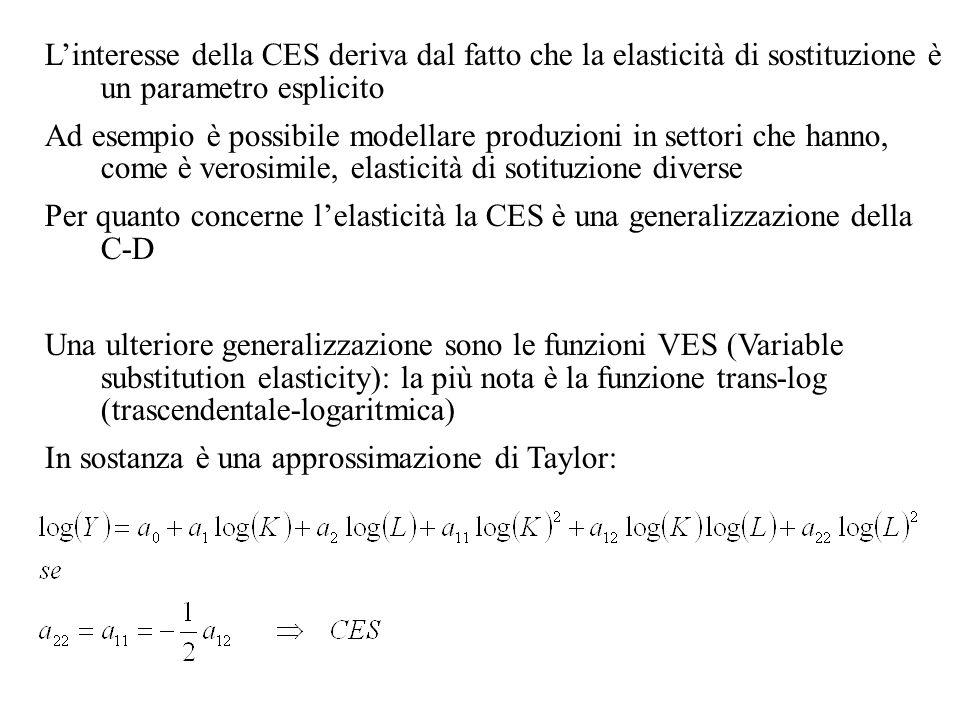 L'interesse della CES deriva dal fatto che la elasticità di sostituzione è un parametro esplicito
