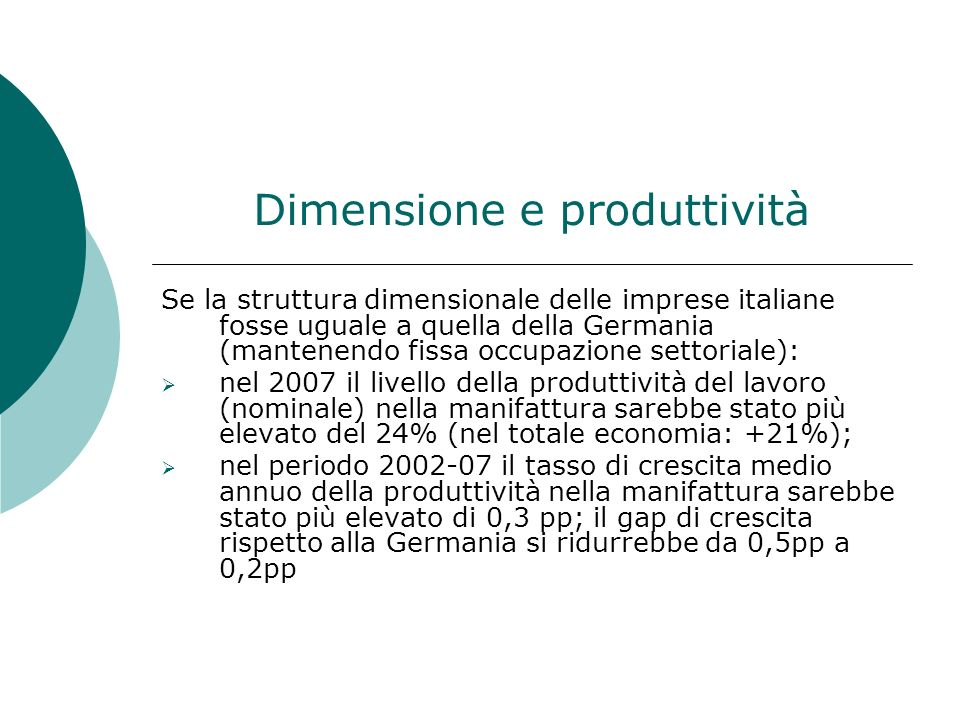 Dimensione e produttività