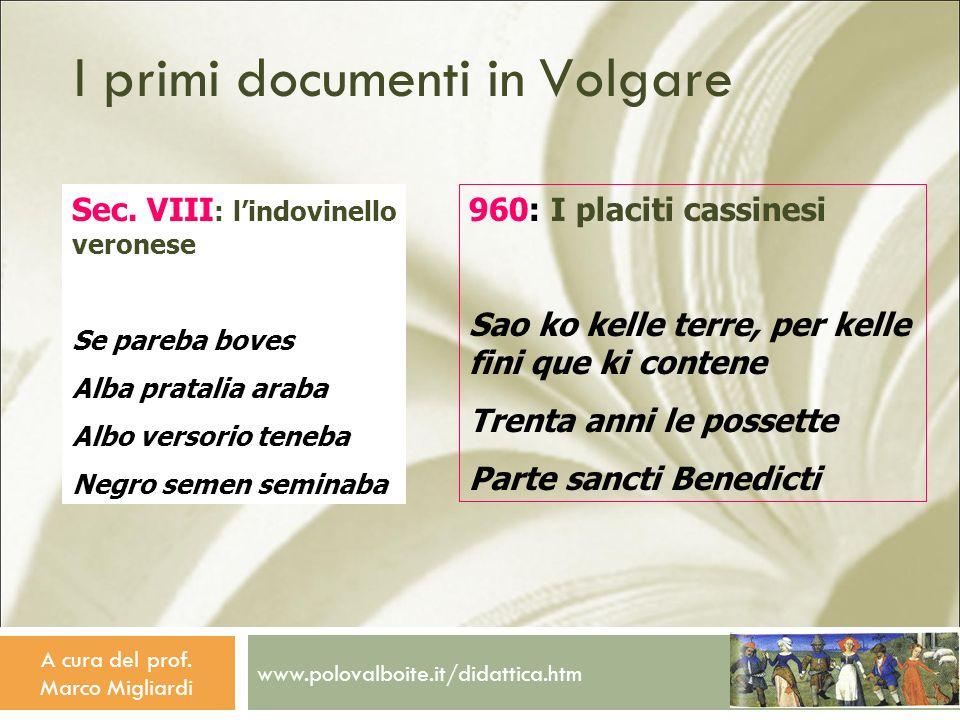 I primi documenti in Volgare