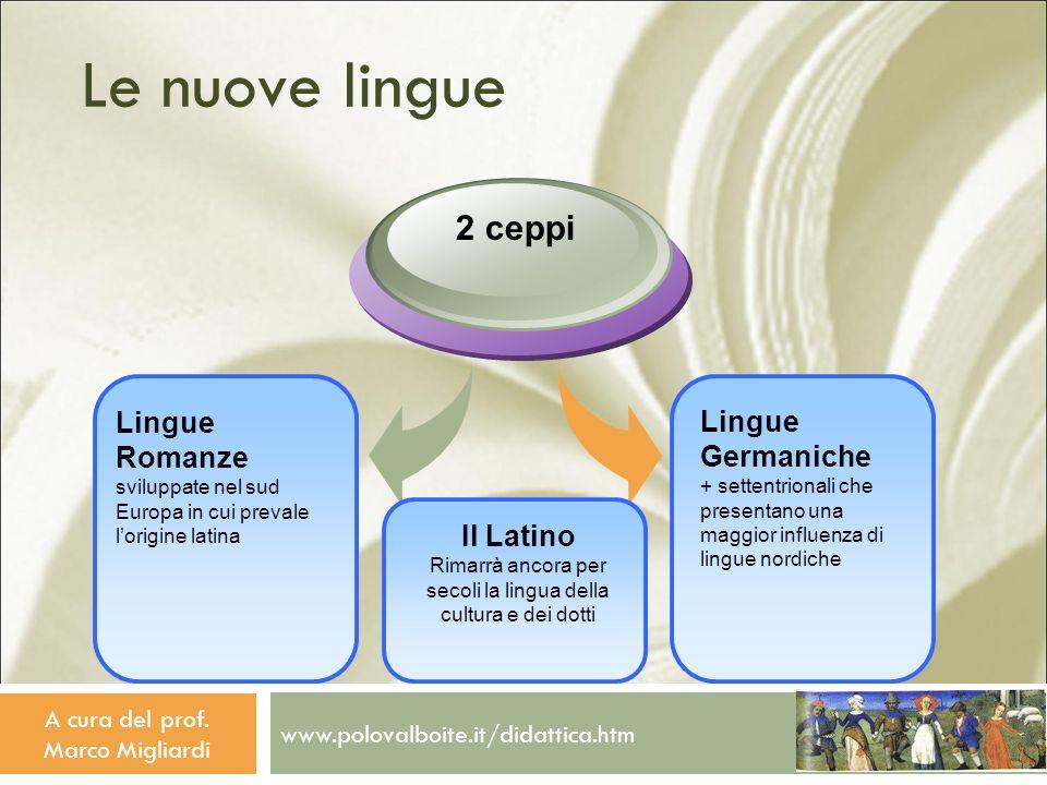 Le nuove lingue 2 ceppi. Lingue Romanze sviluppate nel sud Europa in cui prevale l'origine latina.
