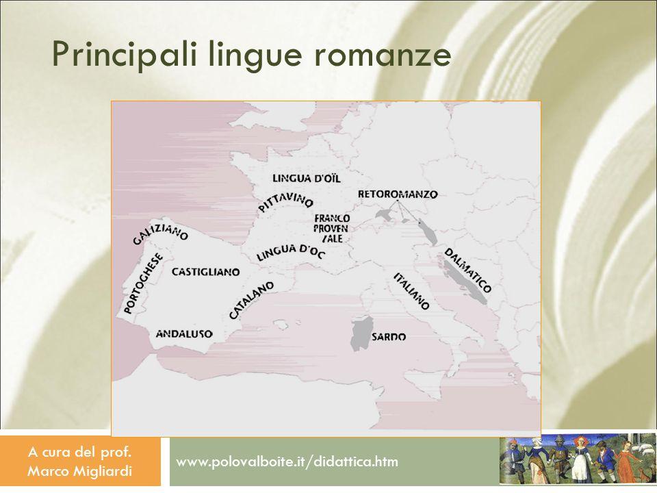 Principali lingue romanze