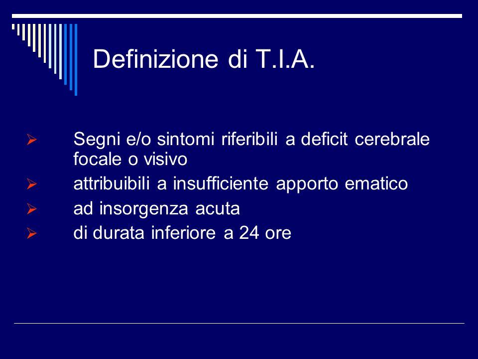 Definizione di T.I.A. Segni e/o sintomi riferibili a deficit cerebrale focale o visivo. attribuibili a insufficiente apporto ematico.