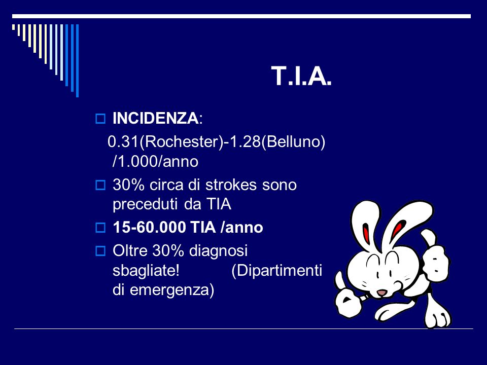T.I.A. INCIDENZA: 0.31(Rochester)-1.28(Belluno) /1.000/anno