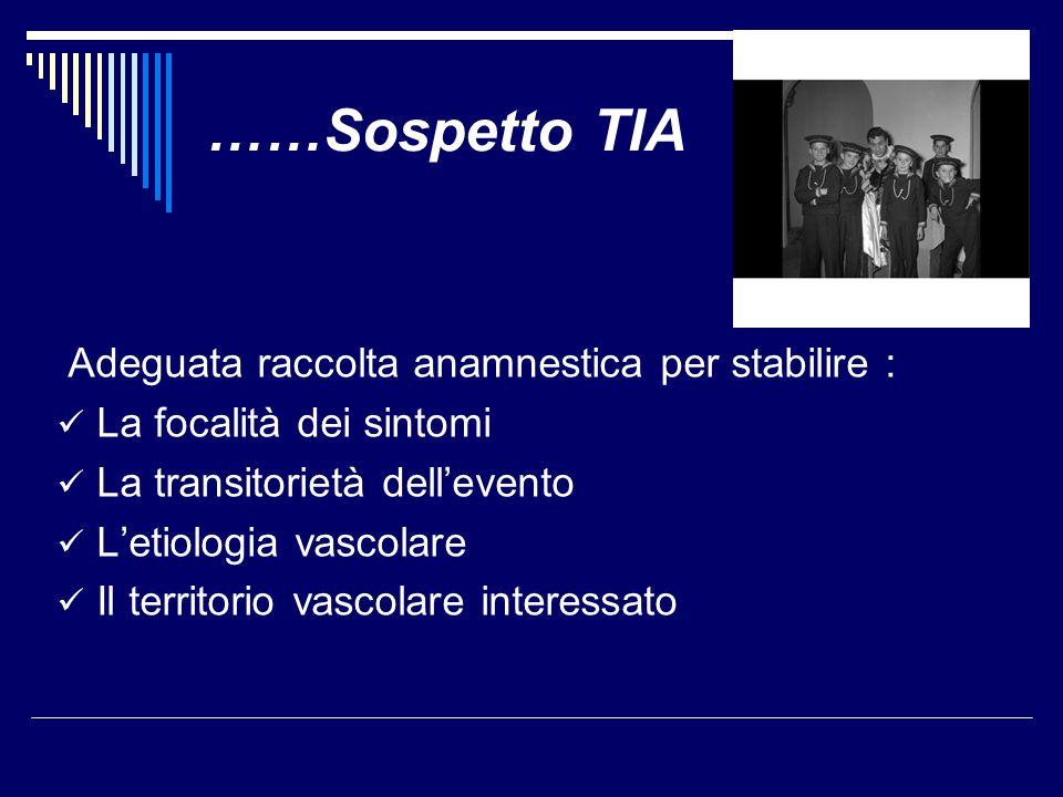 ……Sospetto TIA Adeguata raccolta anamnestica per stabilire :