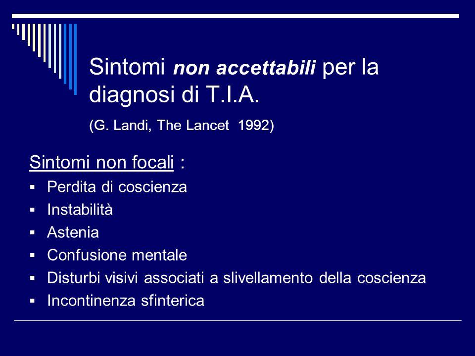 Sintomi non accettabili per la diagnosi di T. I. A. (G