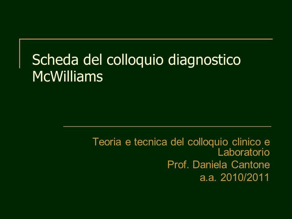 Scheda del colloquio diagnostico McWilliams