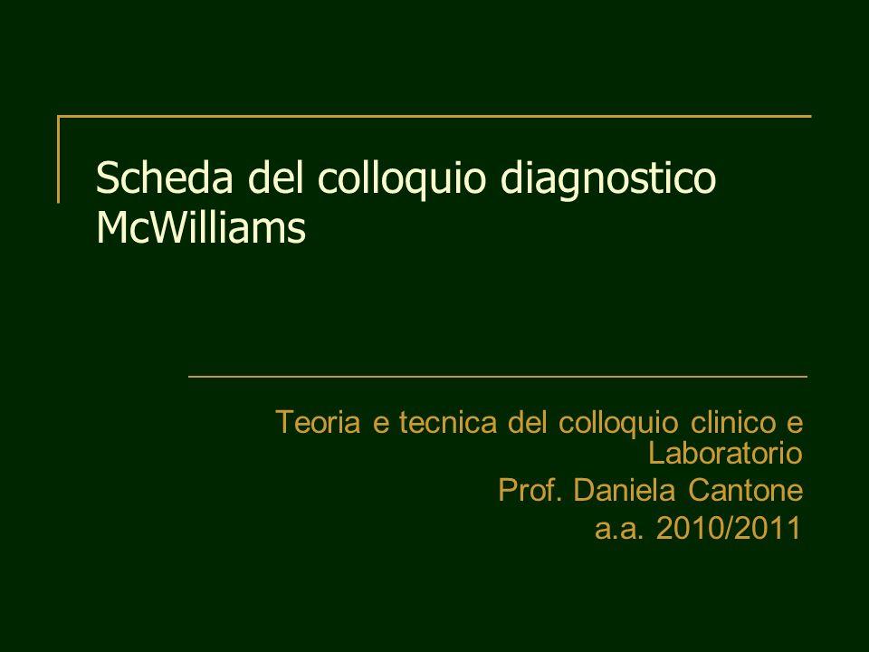 Scheda del colloquio diagnostico McWilliams