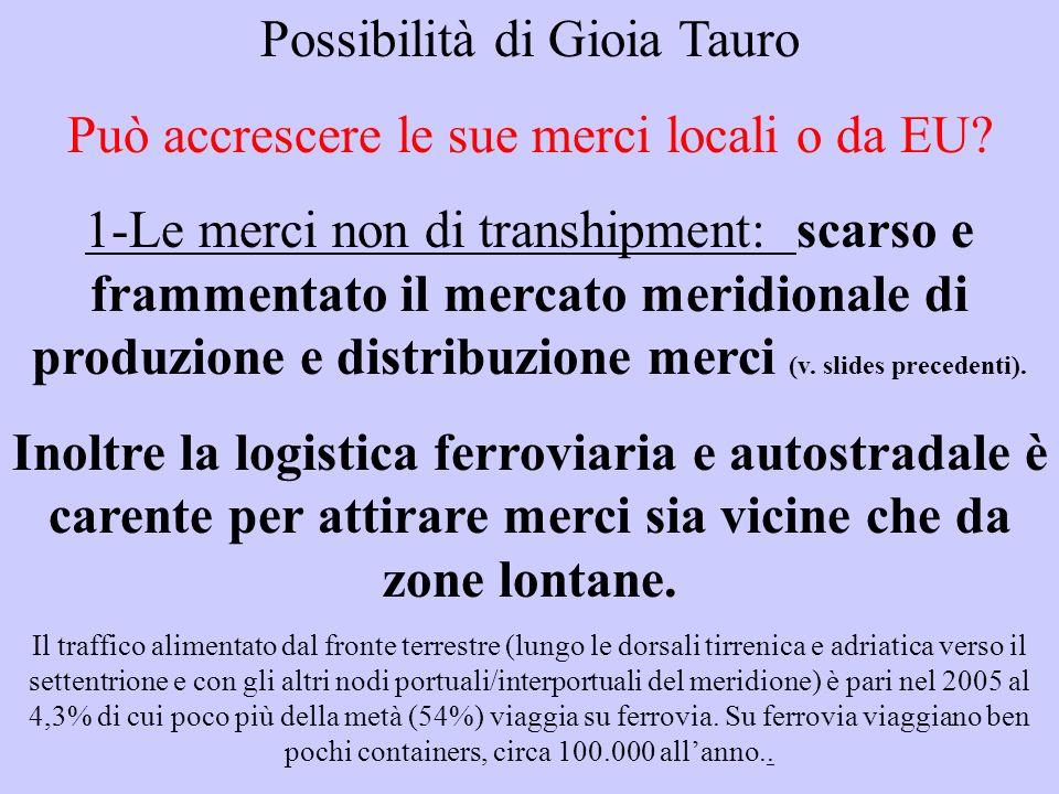 Possibilità di Gioia Tauro Può accrescere le sue merci locali o da EU