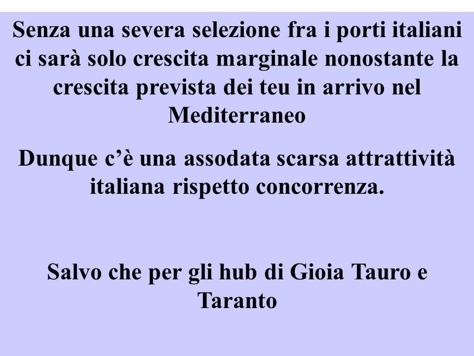Salvo che per gli hub di Gioia Tauro e Taranto