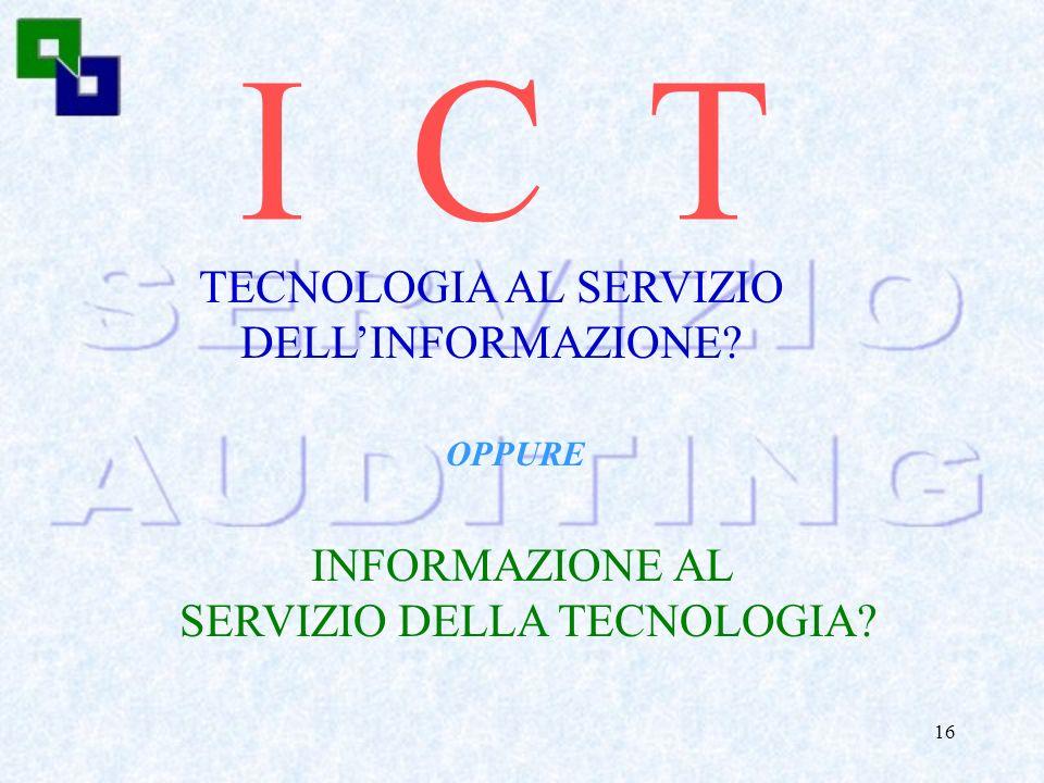 I C T TECNOLOGIA AL SERVIZIO DELL'INFORMAZIONE INFORMAZIONE AL