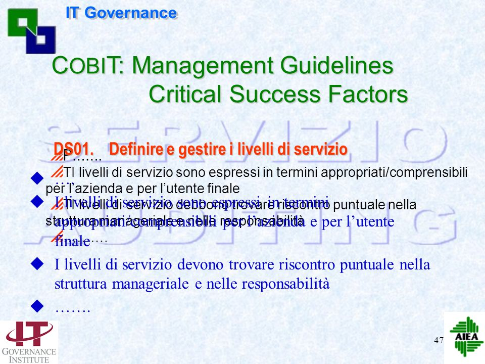 COBIT: Management Guidelines Critical Success Factors