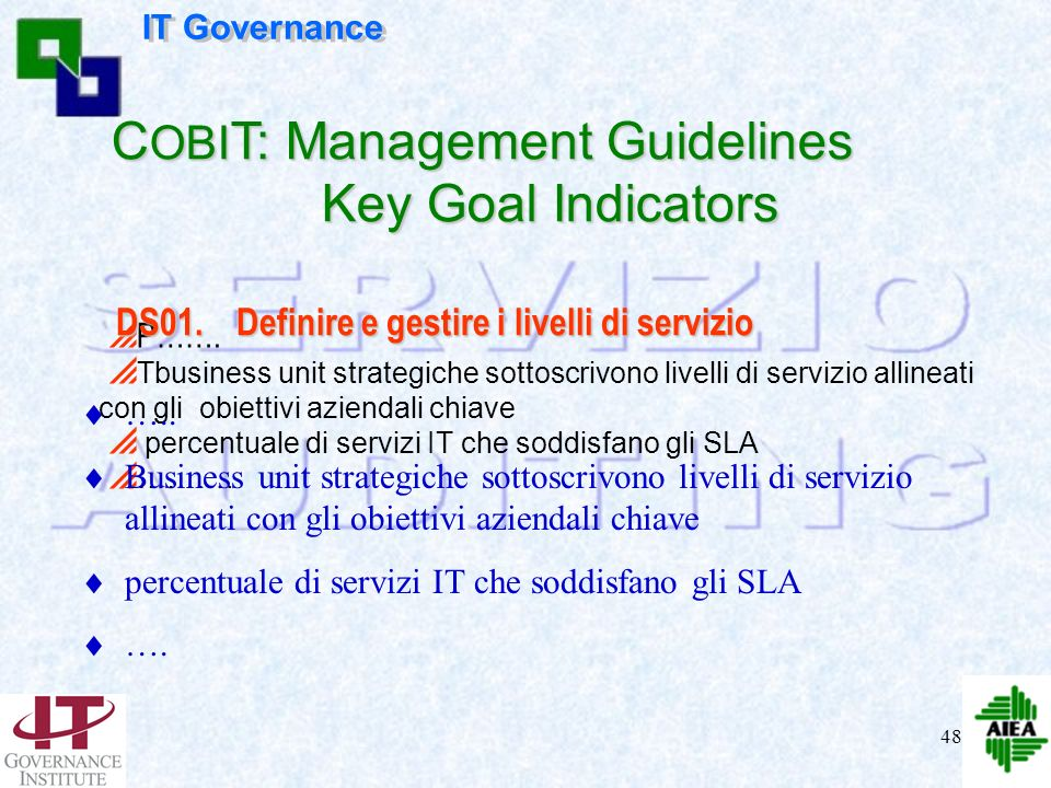COBIT: Management Guidelines Key Goal Indicators