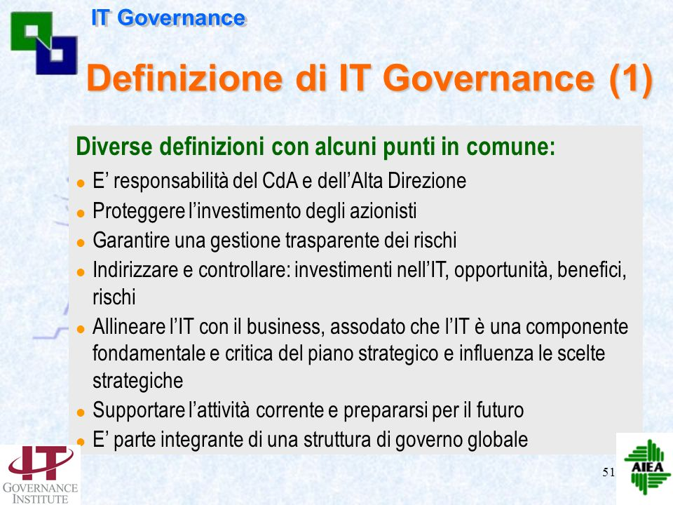 Definizione di IT Governance (1)