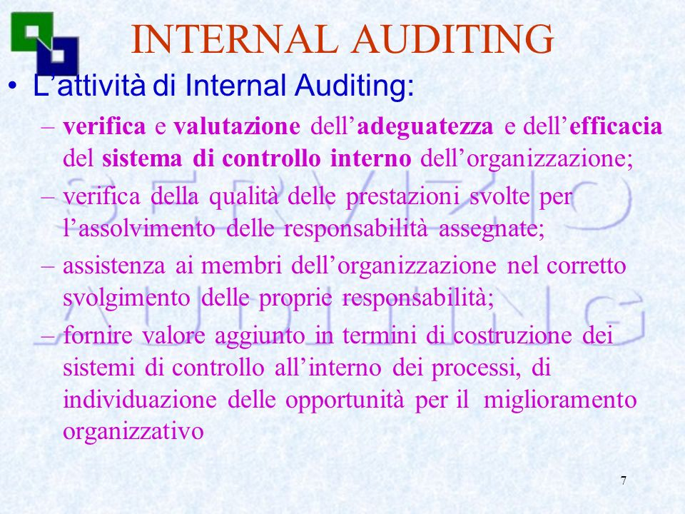 INTERNAL AUDITING L'attività di Internal Auditing: