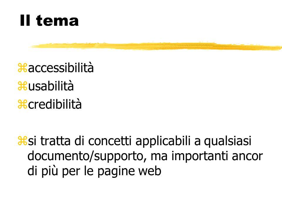 Il tema accessibilità usabilità credibilità