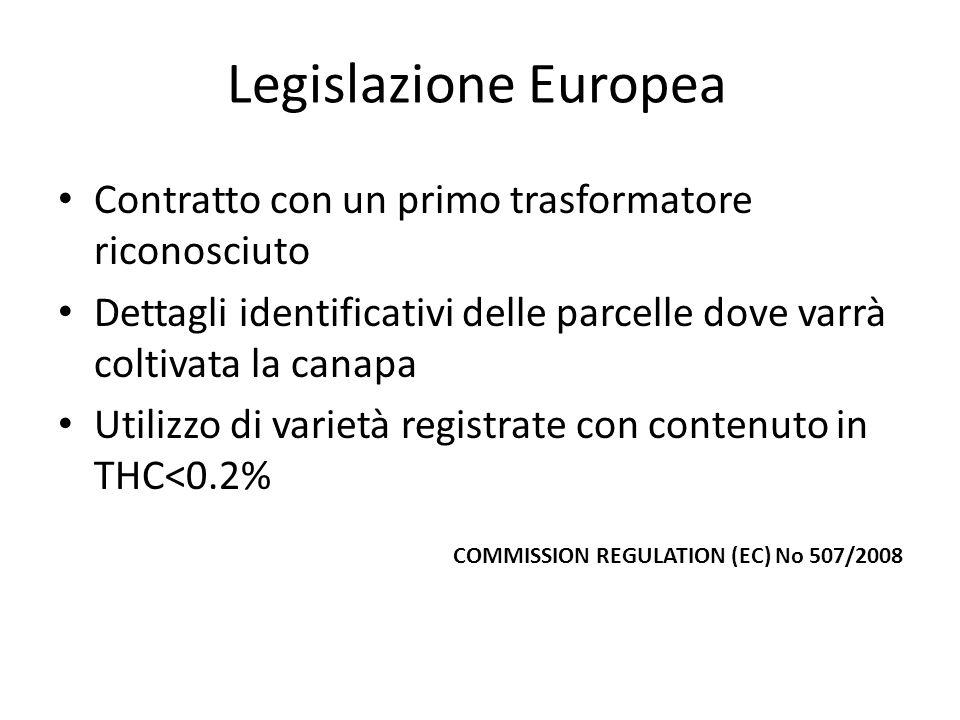 Legislazione Europea Contratto con un primo trasformatore riconosciuto