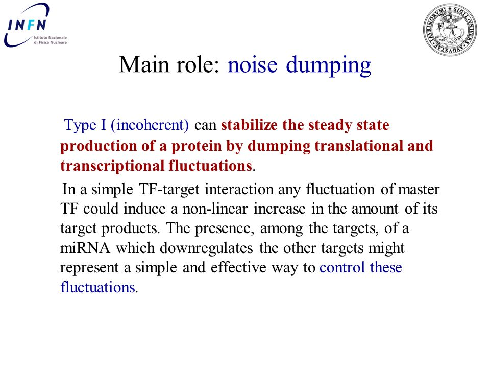 Main role: noise dumping