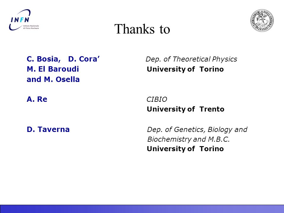Thanks to C. Bosia, D. Cora' Dep. of Theoretical Physics