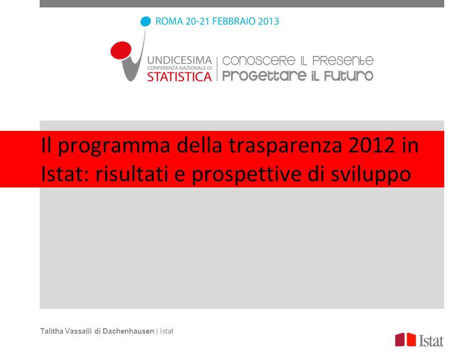 Il programma della trasparenza 2012 in Istat: risultati e prospettive di sviluppo