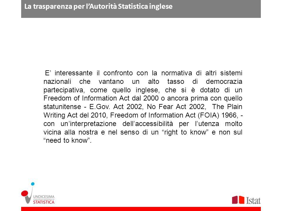 La trasparenza per l'Autorità Statistica inglese