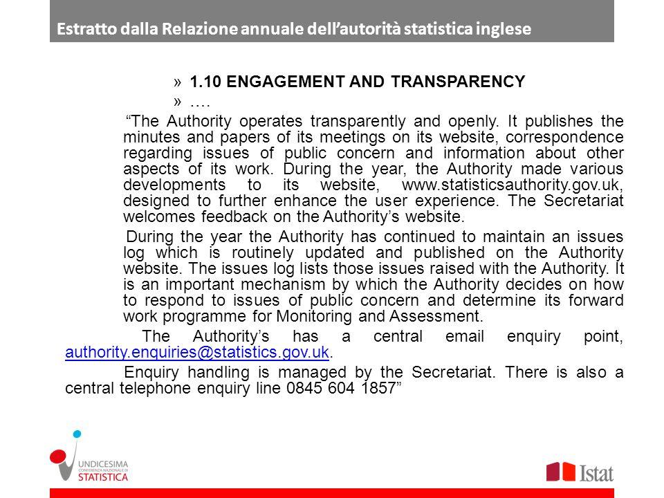 Estratto dalla Relazione annuale dell'autorità statistica inglese