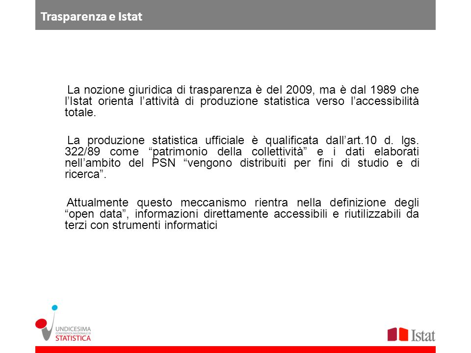 Trasparenza e Istat