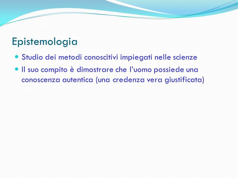 Epistemologia Studio dei metodi conoscitivi impiegati nelle scienze