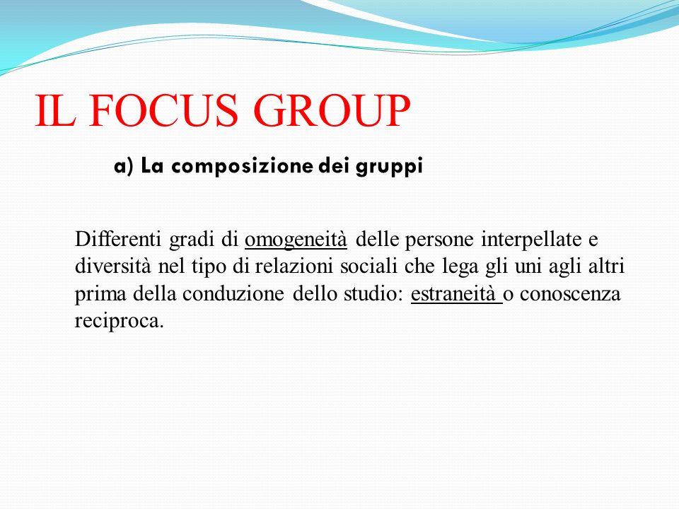 IL FOCUS GROUP a) La composizione dei gruppi