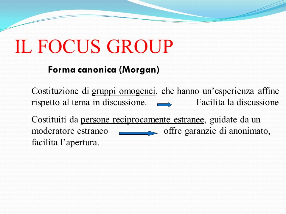 IL FOCUS GROUP Forma canonica (Morgan)