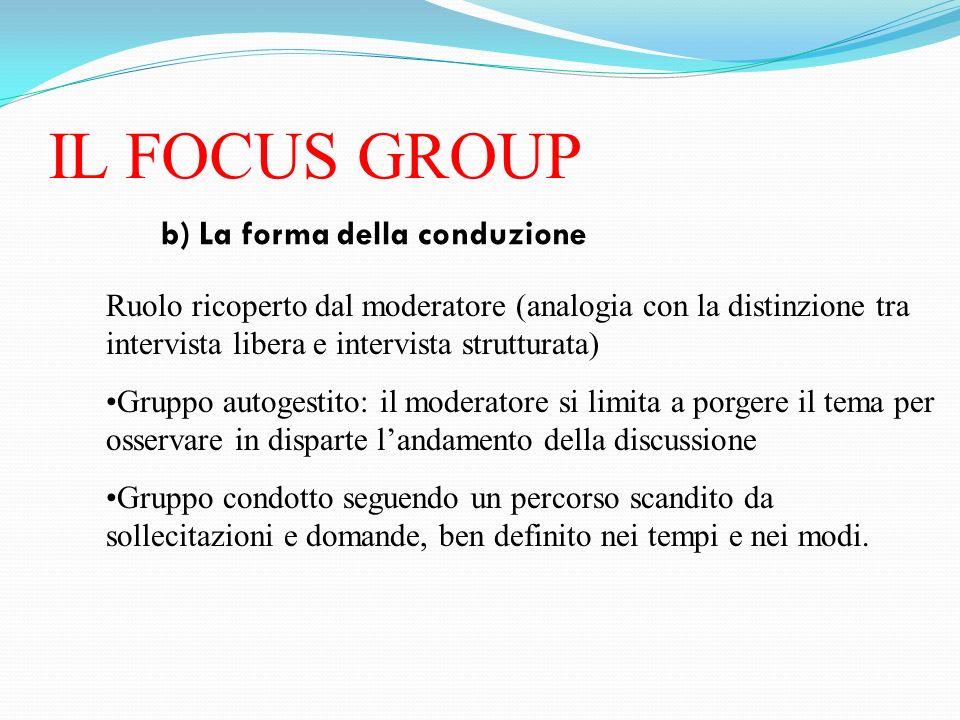 IL FOCUS GROUP b) La forma della conduzione