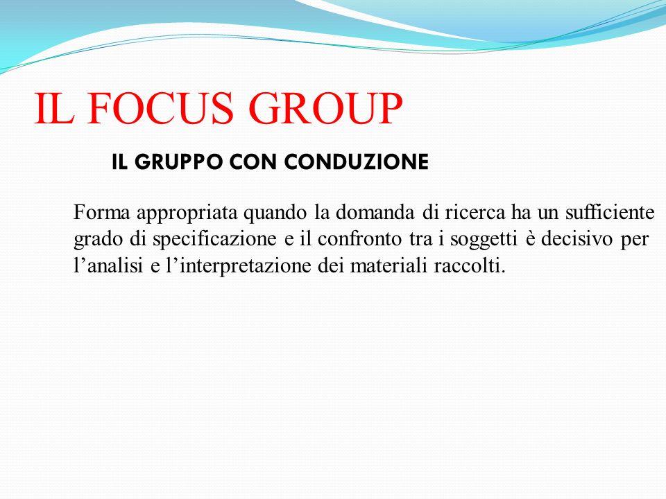 IL FOCUS GROUP IL GRUPPO CON CONDUZIONE