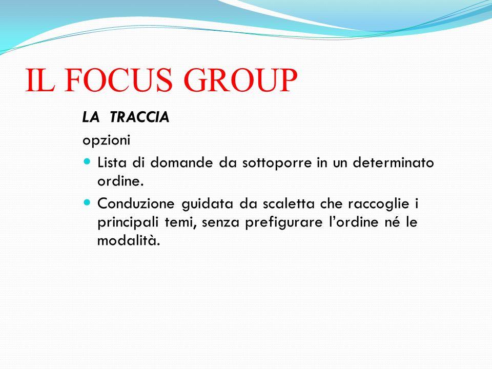 IL FOCUS GROUP LA TRACCIA opzioni
