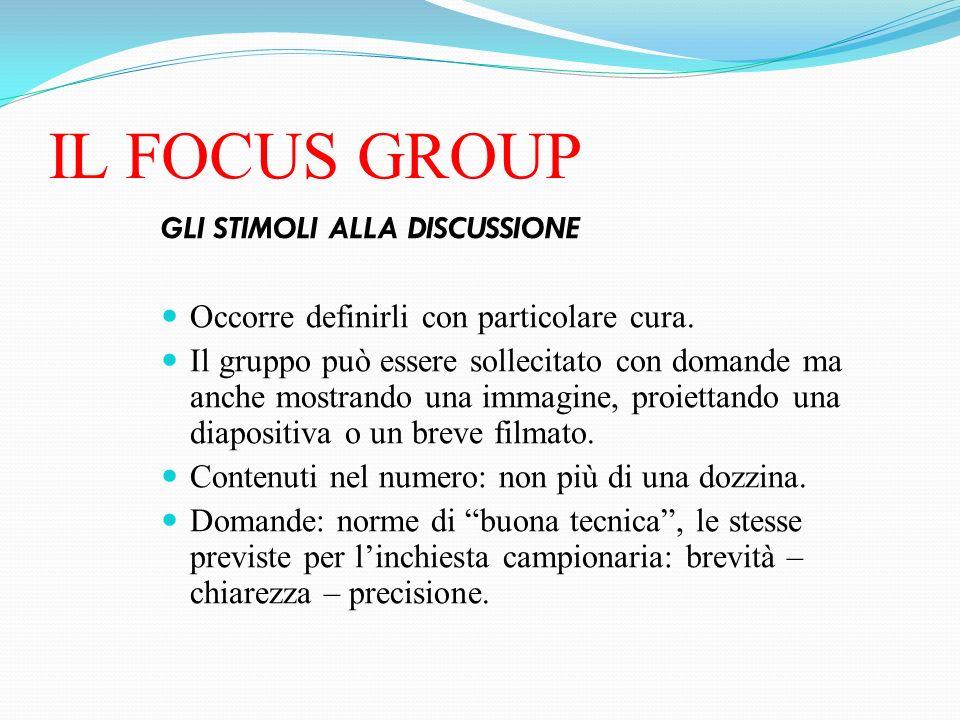 IL FOCUS GROUP GLI STIMOLI ALLA DISCUSSIONE