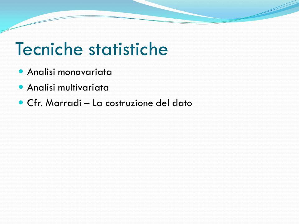 Tecniche statistiche Analisi monovariata Analisi multivariata