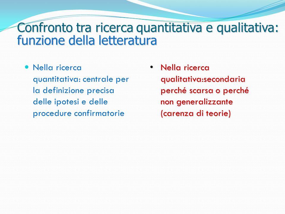 Confronto tra ricerca quantitativa e qualitativa: funzione della letteratura