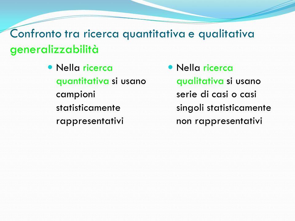 Confronto tra ricerca quantitativa e qualitativa generalizzabilità