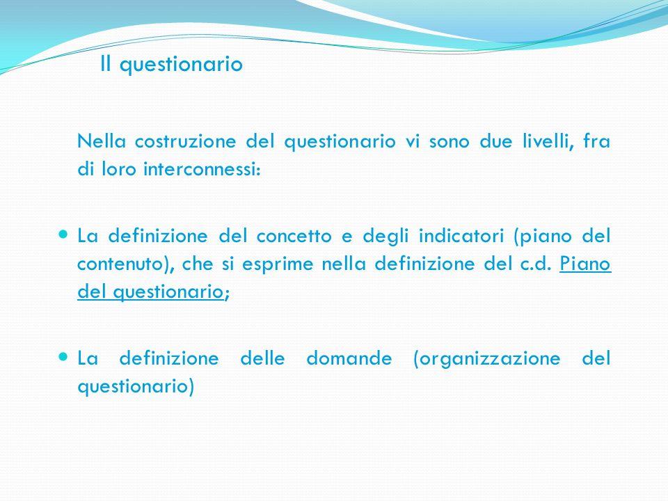 Il questionario Nella costruzione del questionario vi sono due livelli, fra di loro interconnessi: