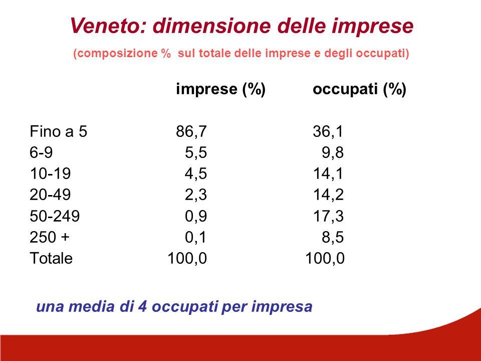 Veneto: dimensione delle imprese