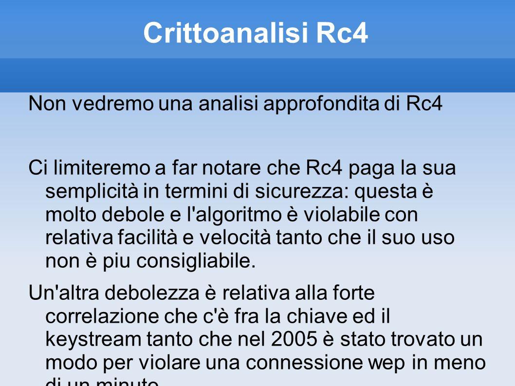 Crittoanalisi Rc4 Non vedremo una analisi approfondita di Rc4