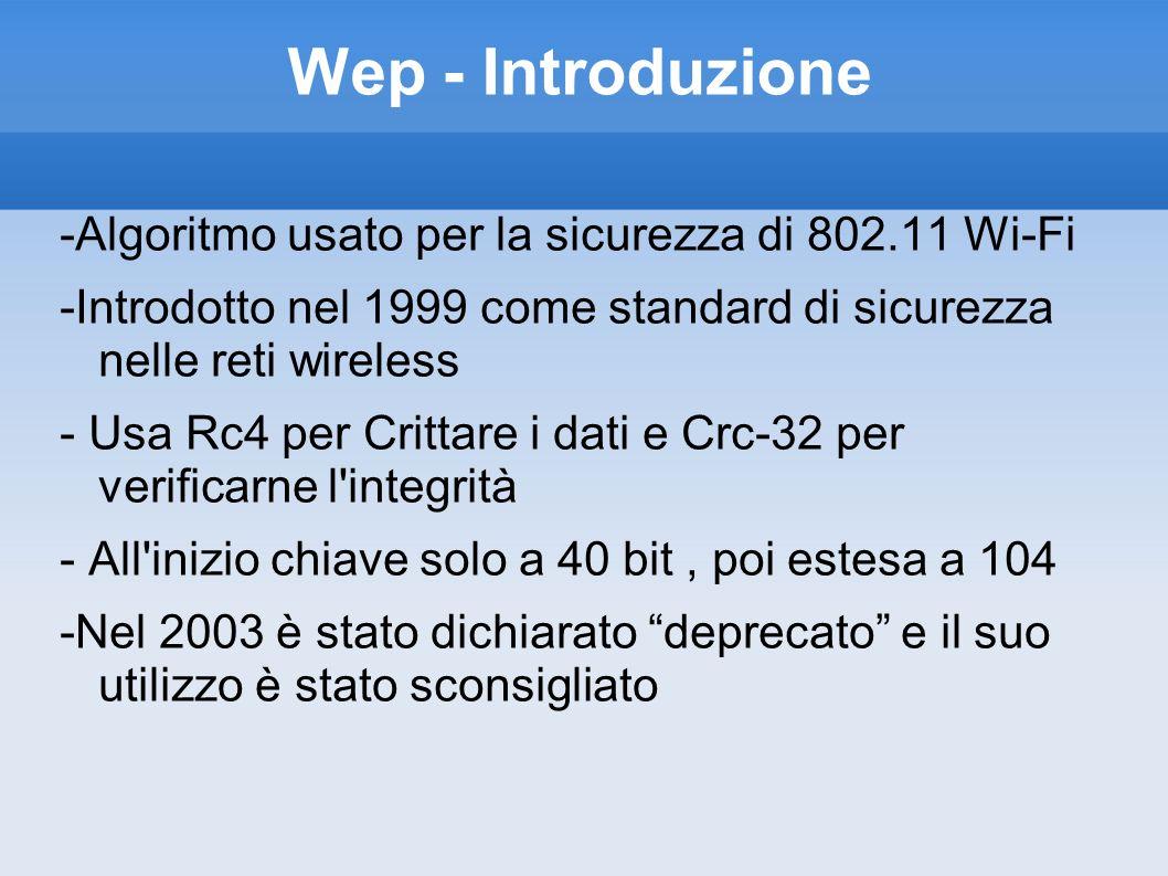 Wep - Introduzione -Algoritmo usato per la sicurezza di 802.11 Wi-Fi