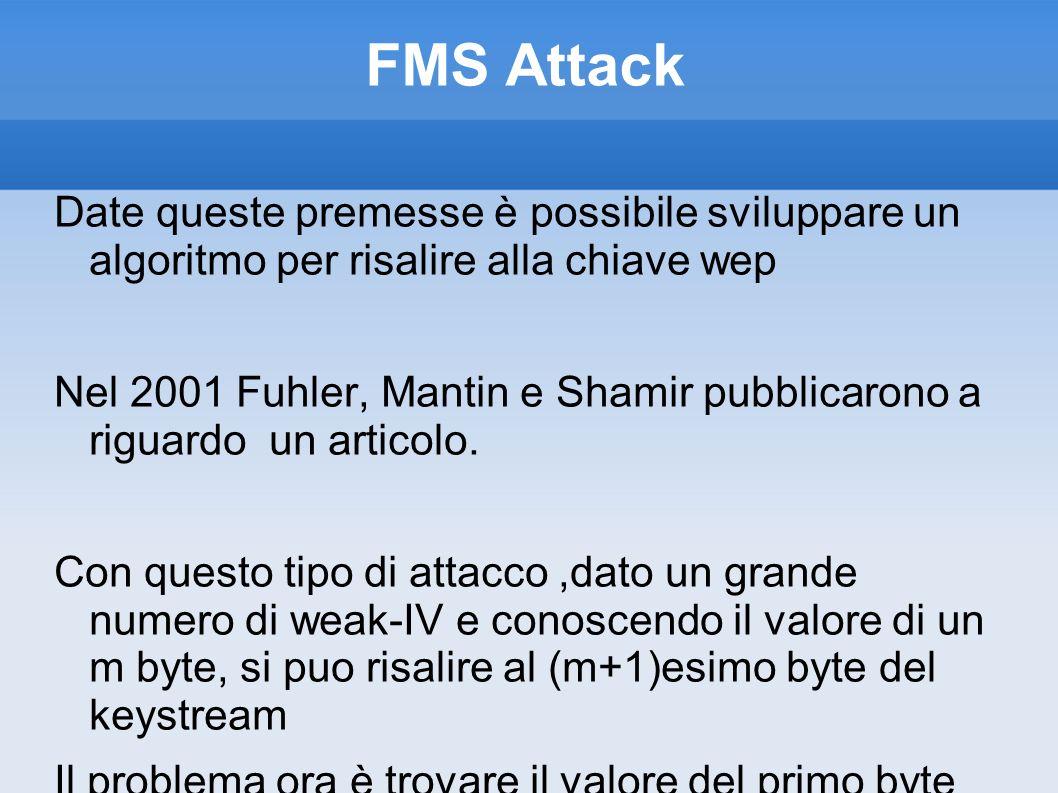 FMS Attack Date queste premesse è possibile sviluppare un algoritmo per risalire alla chiave wep.