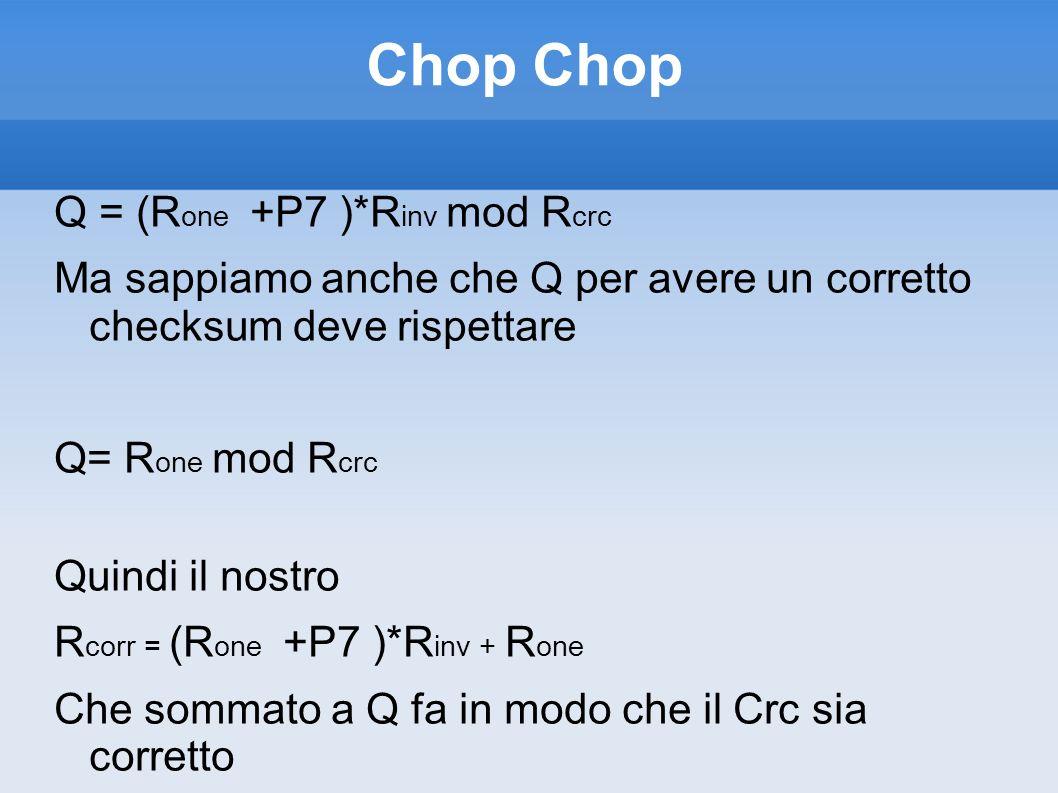 Chop Chop Q = (Rone +P7 )*Rinv mod Rcrc